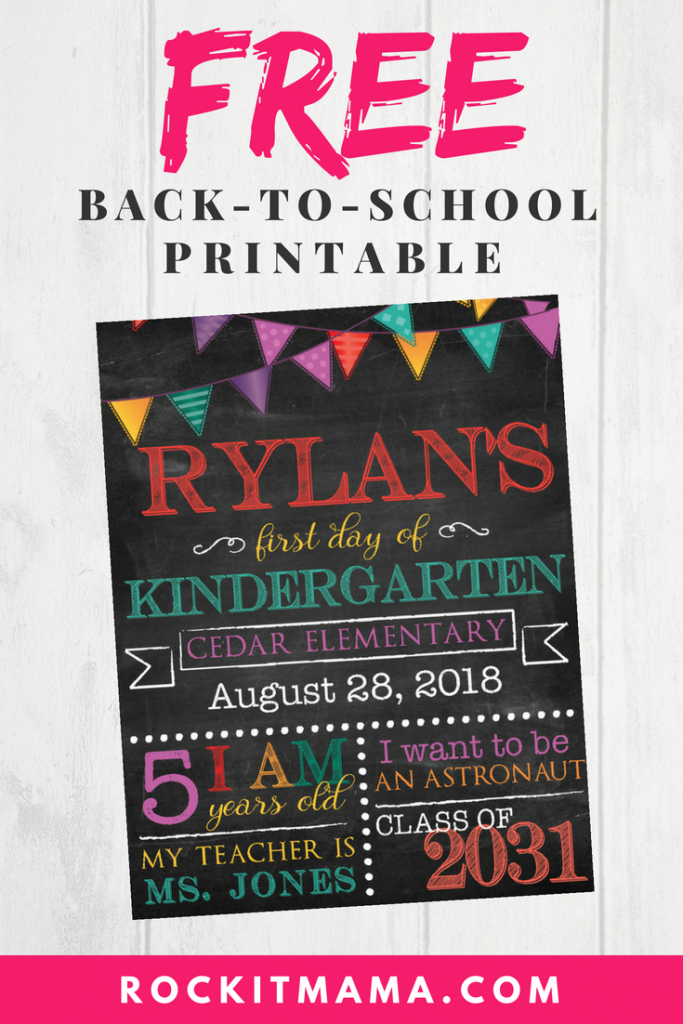 Free Back-to-School Chalkboard Sign | Rock It Mama | Customizable Printable Download