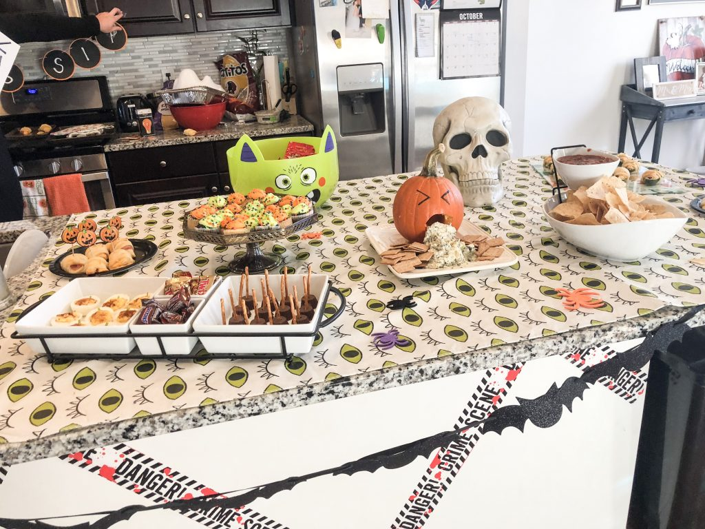 Image of Halloween themed party decorations and food display