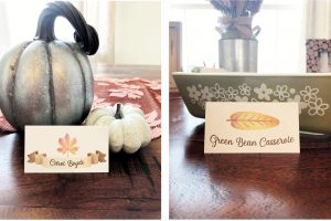 Free Thanksgiving Printables - Utensil Holder, Place Card and Food Tent Cards   Rock It Mama   Download your fee Thanksgiving hosting decoration