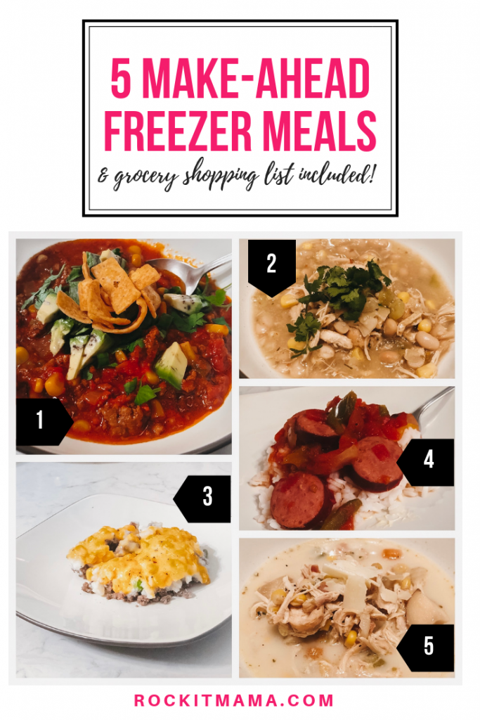 5 Freezer Meals in 45 Minutes | Rock It Mama | Shop using this complimentary shopping list and make 5 make-ahead freezer meals in under an hour!
