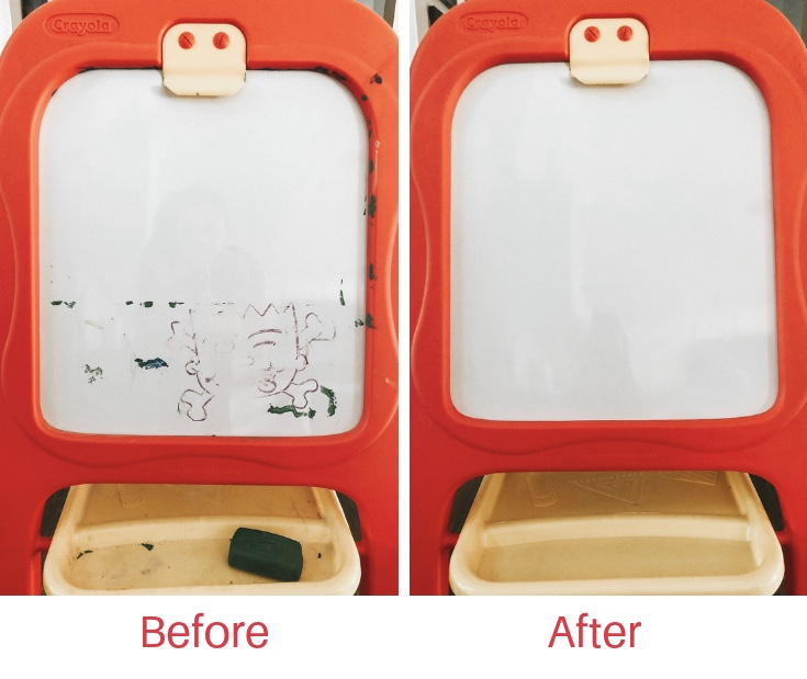 Kids Consignment Sales - Part Two: Prepping Your Inventory | Rock It Mama | Picture of Crayola Easel before and after cleaning with magic eraser