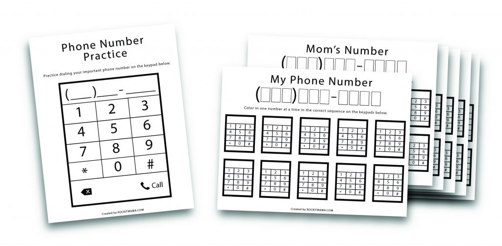 Picture of printable phone bundle to teach kids their phone number