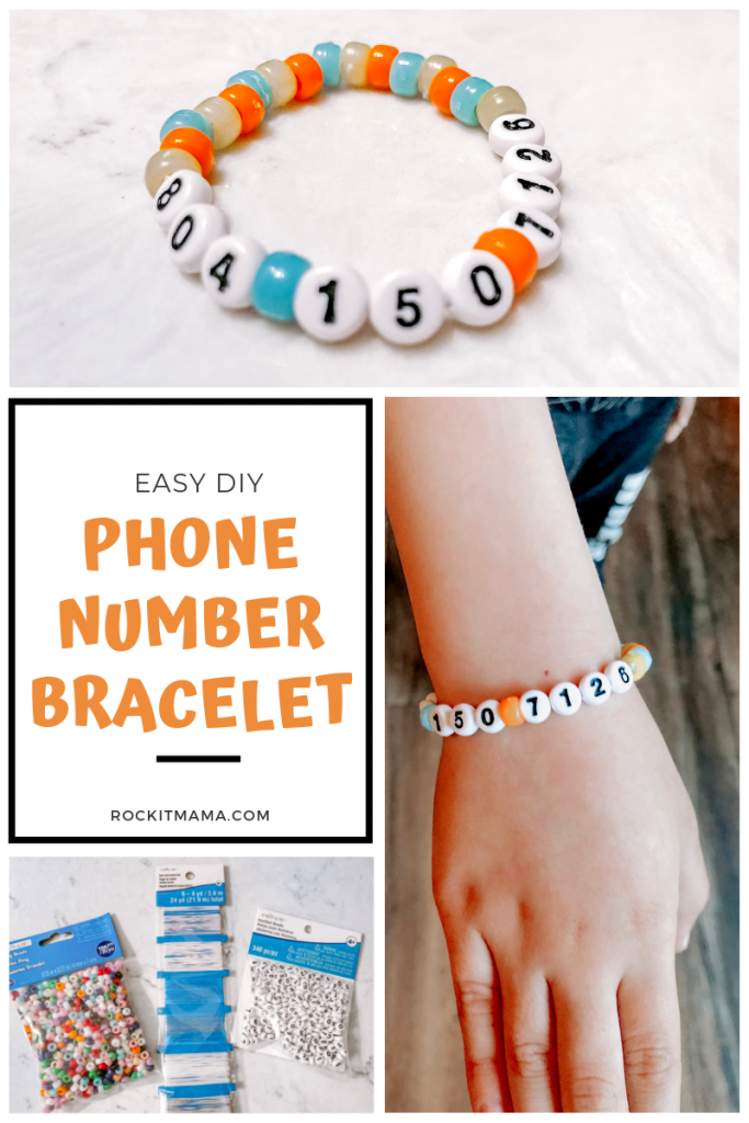 Picture of phone number bracelet activity