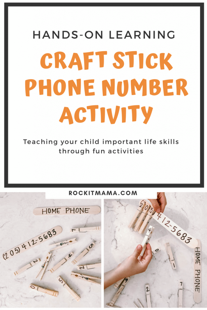 Picture of craft stick phone number activity to memorize phone number