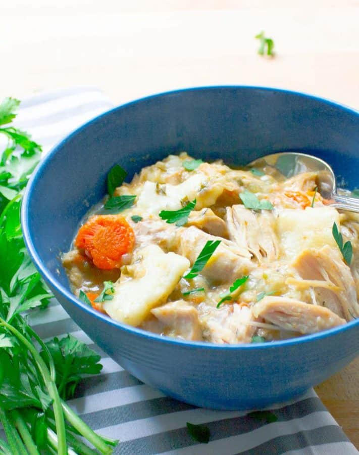 Image link to Slow Cooker Chicken and Dumplings by Savor with Jennifer