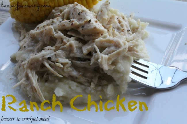 Image link to slow cooker ranch chicken by Having Fun Saving.