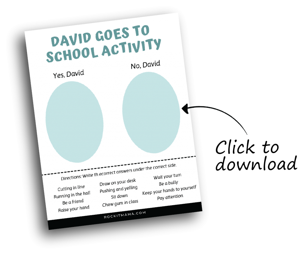 Clickable link to David Goes to School book activity download