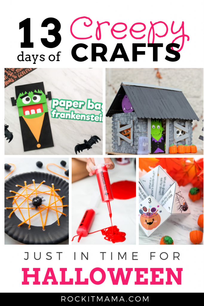 Pinterest Graphic of 13 Creepy Halloween Crafts