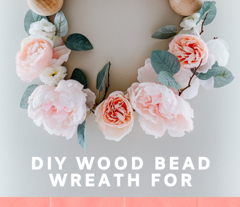 DIY Wood Bead Spring Wreath