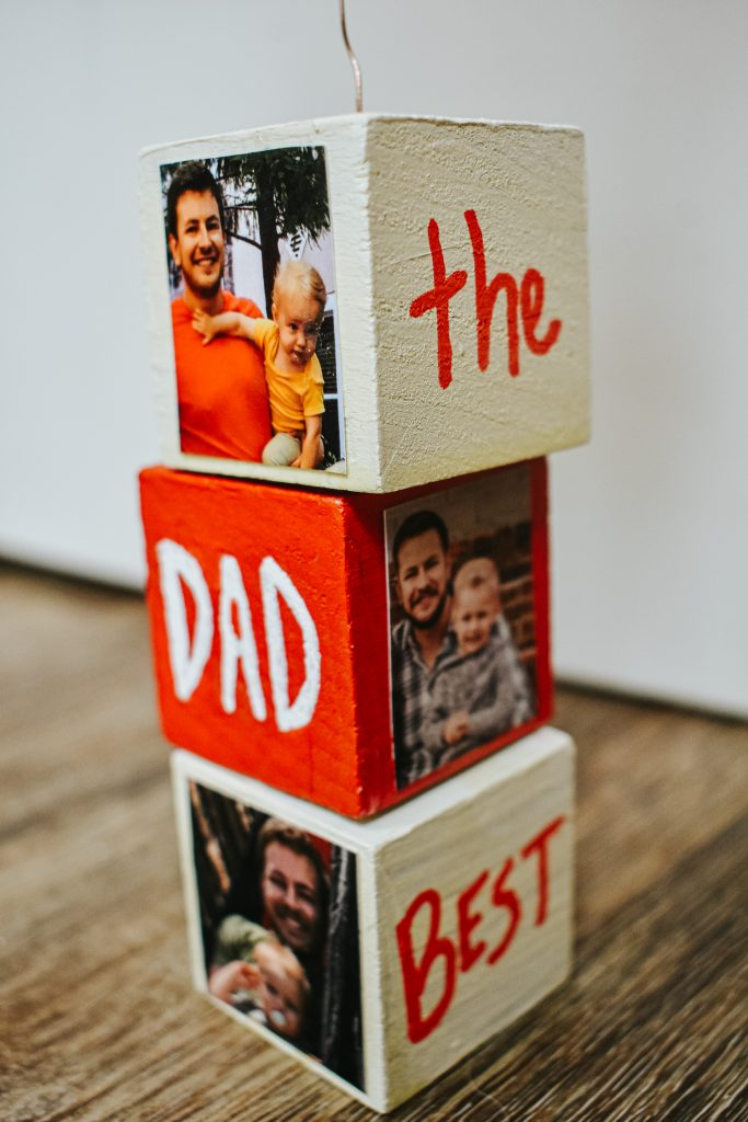 DIY Block Photo Holder for Father's Day